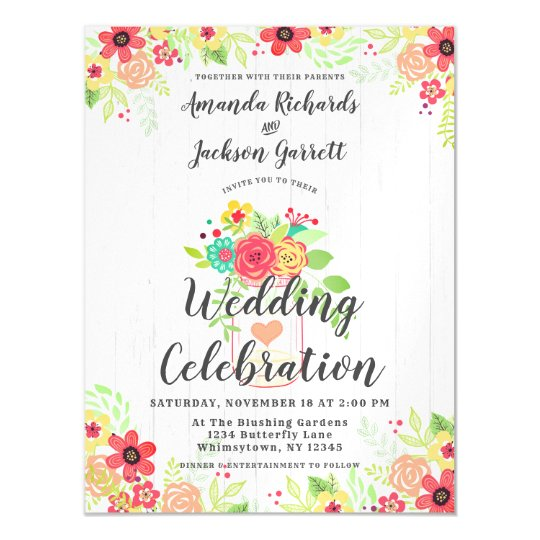 Rustic Mason Jar Magnetic Wedding Invitation