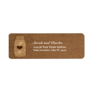 Rustic Mason Jar on Burlap Vintage Return Address Return Address Label