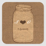 Rustic Mason Jar on Burlap Vintage Wedding Square Sticker