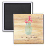 Rustic Mason Jar Peach Roses Wedding Magnet