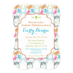 """Rustic Mason Jar Pink Coral Aqua Floral Graduation 5"""" X 7"""" Invitation Card"""