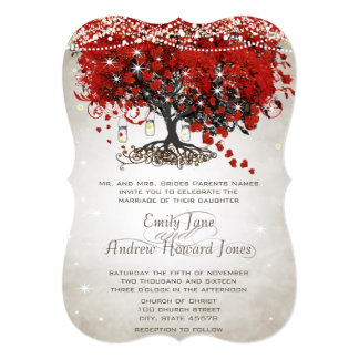 "Rustic Mason Jar Red Heart Leaf Tree Wedding 5"" X 7"" Invitation Card"