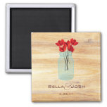 Rustic Mason Jar Red Poppies Wedding Magnet