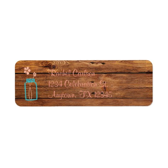 Rustic Mason Jar Return Address Labels Peach