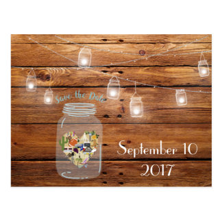 Rustic Mason Jar Save the Date Texas Postcard