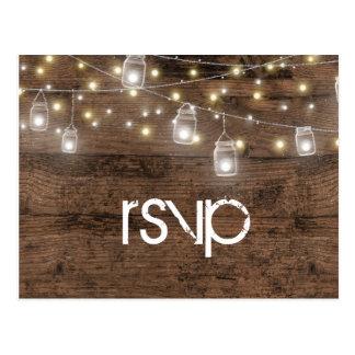 Rustic Mason Jar String Lights Vintage RSVP Postcard