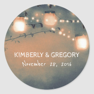 Rustic Mason Jar String Lights Wedding Round Sticker