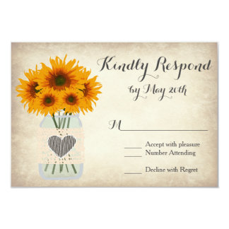 "Rustic Mason Jar Sunflower RSVP Cards 3.5"" X 5"" Invitation Card"
