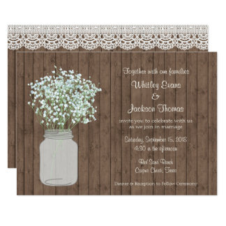 Rustic Mason Jar Wedding Invitation on Wood