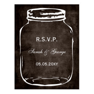 rustic mason jar wedding rsvp postcard