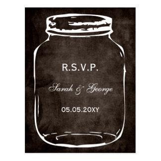 rustic mason jar wedding rsvp postcard