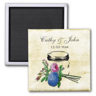 rustic mason jar wedding save the date square magnet