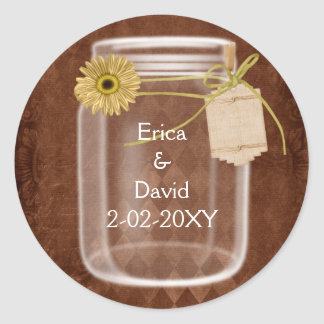 rustic mason jar wedding seals round sticker