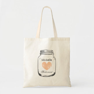 Rustic mason jar wedding tote bag for bridesmaid