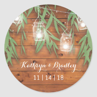 Rustic Mason Jar Wedding | Willow Twinkle Lights Classic Round Sticker