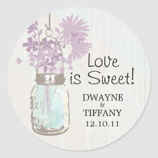 Rustic Mason Jar & Wildflowers Classic Round Sticker