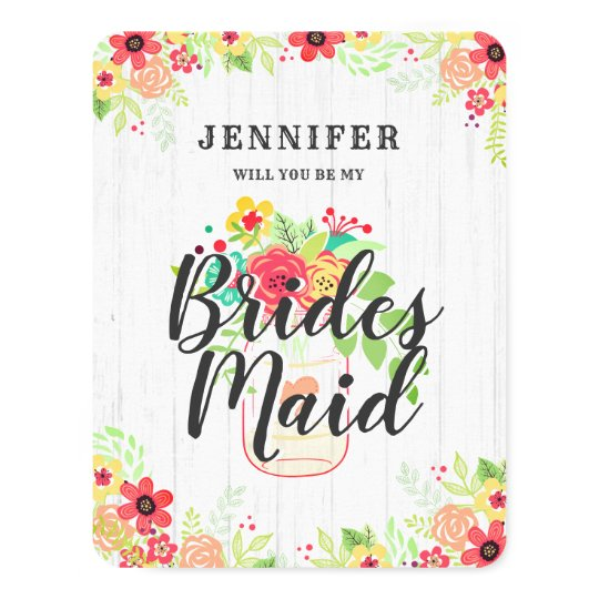 Rustic Mason Jar Will You Be My Bridesmaid Card