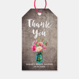 Rustic Mason Jar with Flower Bouquet Thank You Gift Tags