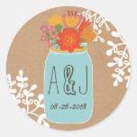 Rustic Mason Jar with Flowers Craft Paper Monogram