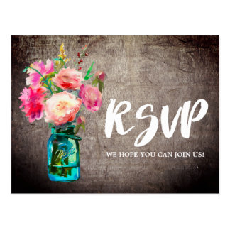 Rustic Mason Jar with Flowers Menu Choice RSVP Postcard