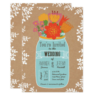 Rustic Mason Jar with Flowers on Craft Paper Card