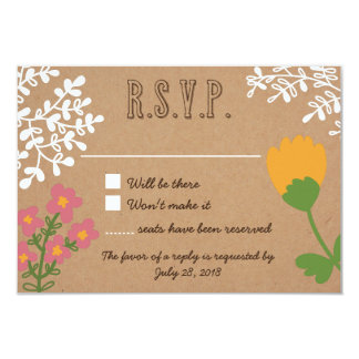 Rustic Mason Jar with Flowers on Craft Paper RSVP Card
