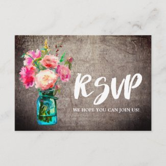 Rustic Mason Jar with Flowers Wedding Website RSVP