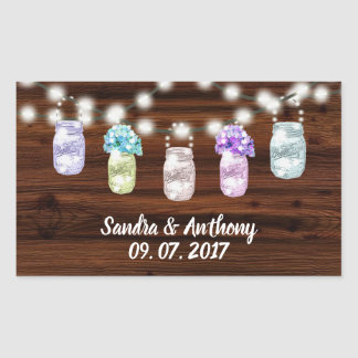 Rustic Mason Jar With Lights Wedding Sticker