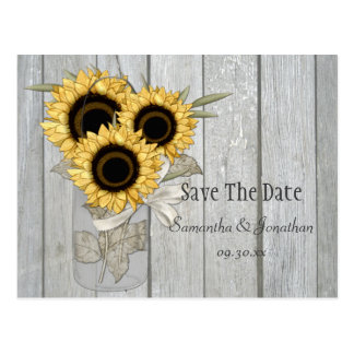 Rustic Mason Jar Yellow Sunflowers Save The Date Postcard