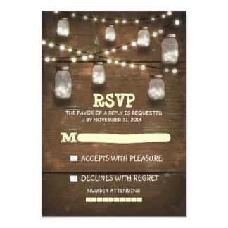 "rustic mason jars and light wedding RSVP cards 3.5"" X 5"" Invitation Card"