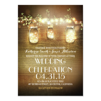 rustic mason jars and lights wedding invitations