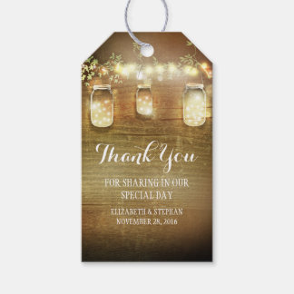 Rustic Mason Jars Lights Wedding Thank You Pack Of Gift Tags