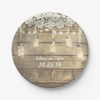 rustic mason jars string lights lace  wood 7 inch paper plate