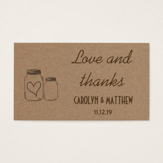 Rustic Masonjar Heart Wedding Love & Thanks Insert