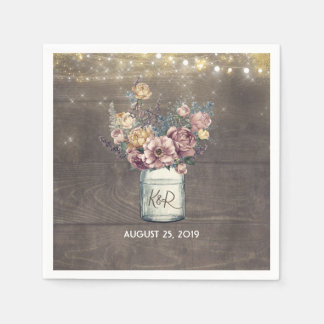 Rustic Mauve and Gold Floral Mason Jar Wedding Paper Napkin