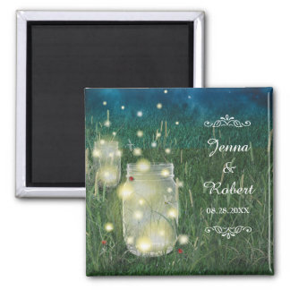 Rustic Meadow Summer Night Mason Jar and Fireflies Magnet