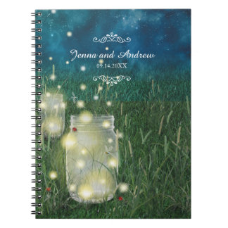 Rustic Meadow Summer Night Mason Jar and Fireflies Spiral Notebook