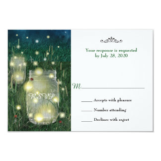 Rustic Meadow Summer Night Mason Jar Firefly RSVP Card