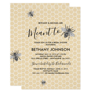 Rustic Meant to Bee Bridal Shower Card