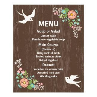 Rustic Menu Floral Brown Wood Wedding Doves