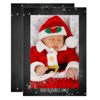 Rustic Merry Christmas Photo Chalkboard Silver Card