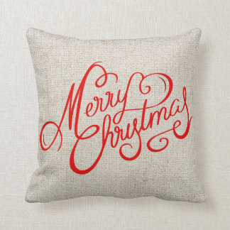 Rustic Merry Christmas Red vintage Typography Throw Pillow