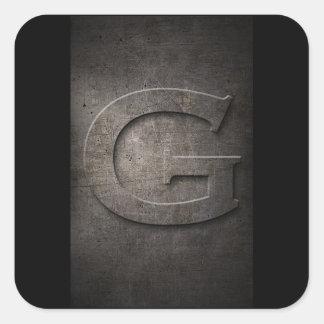 Rustic Metal G Monogram Square Sticker