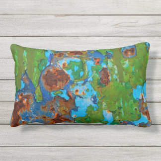 Rustic Metal Peeling Paint Grunge Vintage  Outside Outdoor Pillow