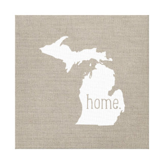 Rustic Michigan Home State Wrapped Canvas Art Canvas Prints
