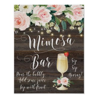 Rustic Mimosa Bar Wedding Sign blush Pink