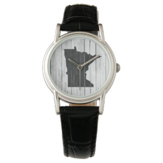 Rustic Minnesota State Wood Panel Black and White Watch