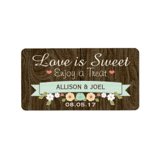 Rustic Mint Boho Love is Sweet Favour Labels