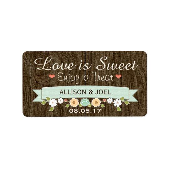 Rustic Mint Boho Love is Sweet Favour Labels