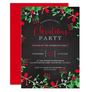 Rustic Mistletoe & Holly Wreath | Christmas Party Card